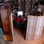 Screens create an office